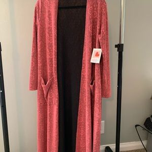LuLaRoe Duster Sweater NWT Pink and Black Lace